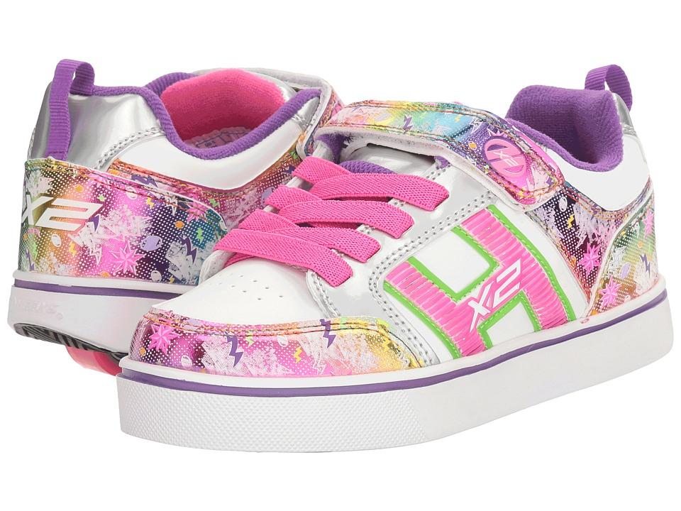 Heelys Bolt Plus X2 (Little Kid/Big Kid) (White/Silver/Rainbow) Girls Shoes