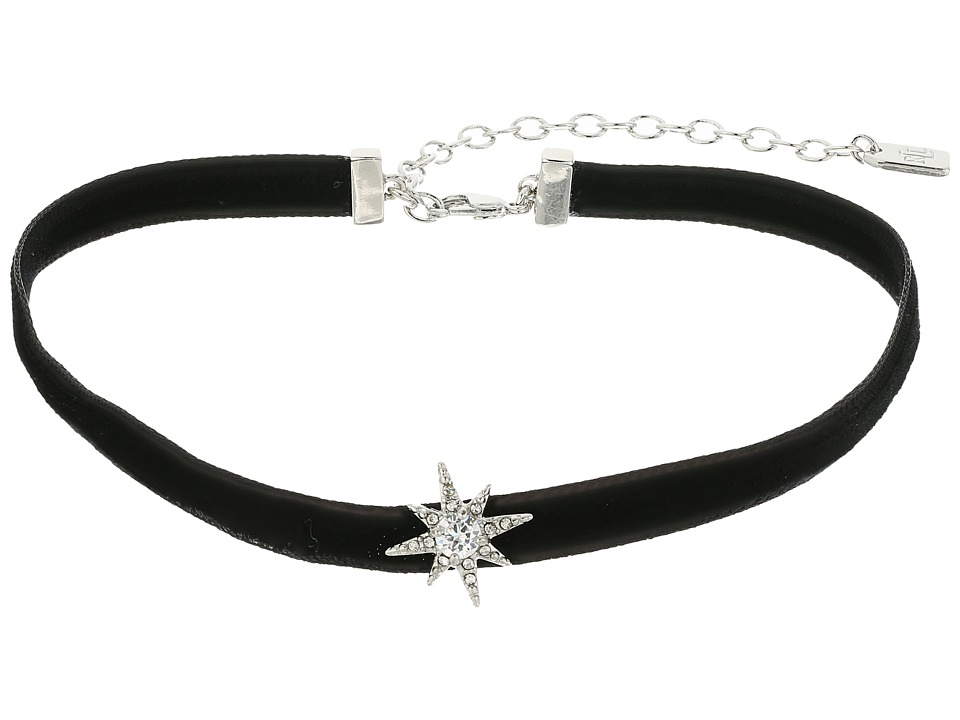 LAUREN Ralph Lauren - 12 Black Velvet Choker with Silver Crystal Star Necklace (Black) Necklace