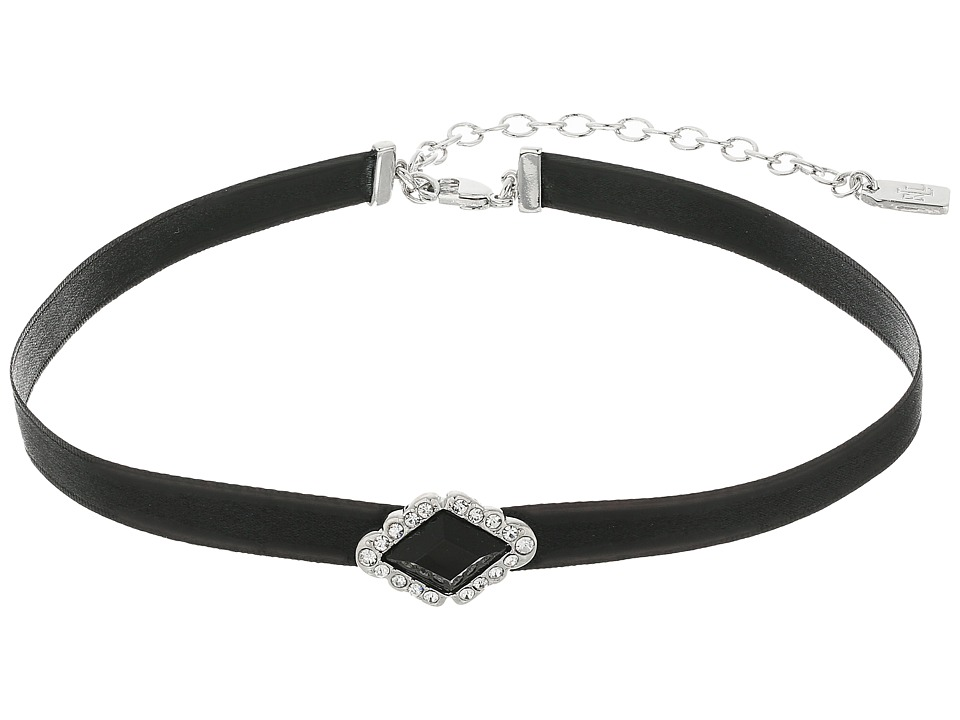 LAUREN Ralph Lauren - 12 Black Velvet Choker with Jet Silver Crystal Diamond Necklace (Black) Necklace
