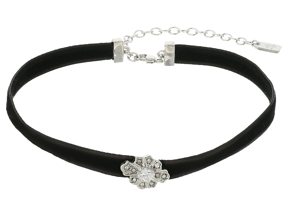 LAUREN Ralph Lauren - 12 Black Velvet Choker with Silver Crystal Flower Necklace (Black) Necklace