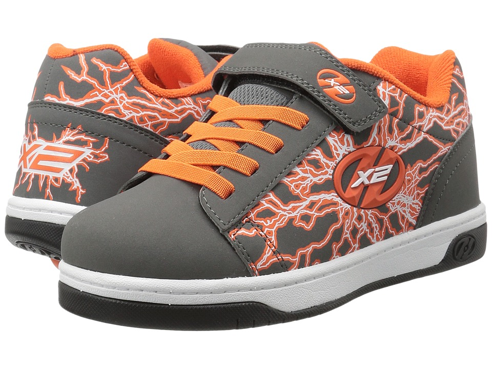 Heelys - Dual Up X2 (Little Kid/Big Kid/Adult) (Charcoal/Orange/Electricity) Boys Shoes