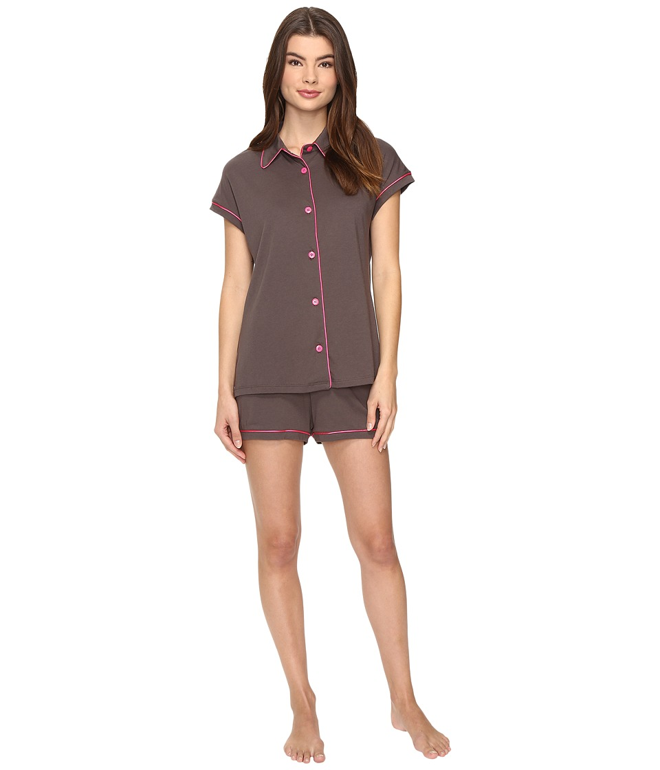 Cosabella - Bella Cap Sleeve Top Boxer Set (Smoky Grey/Heather Pink) Women's Pajama Sets
