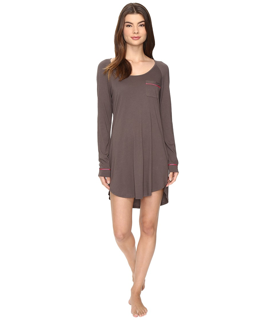 Cosabella - Bella Long Sleeve Sleep Dress (Smoky Grey/Heather Pink) Women's Pajama