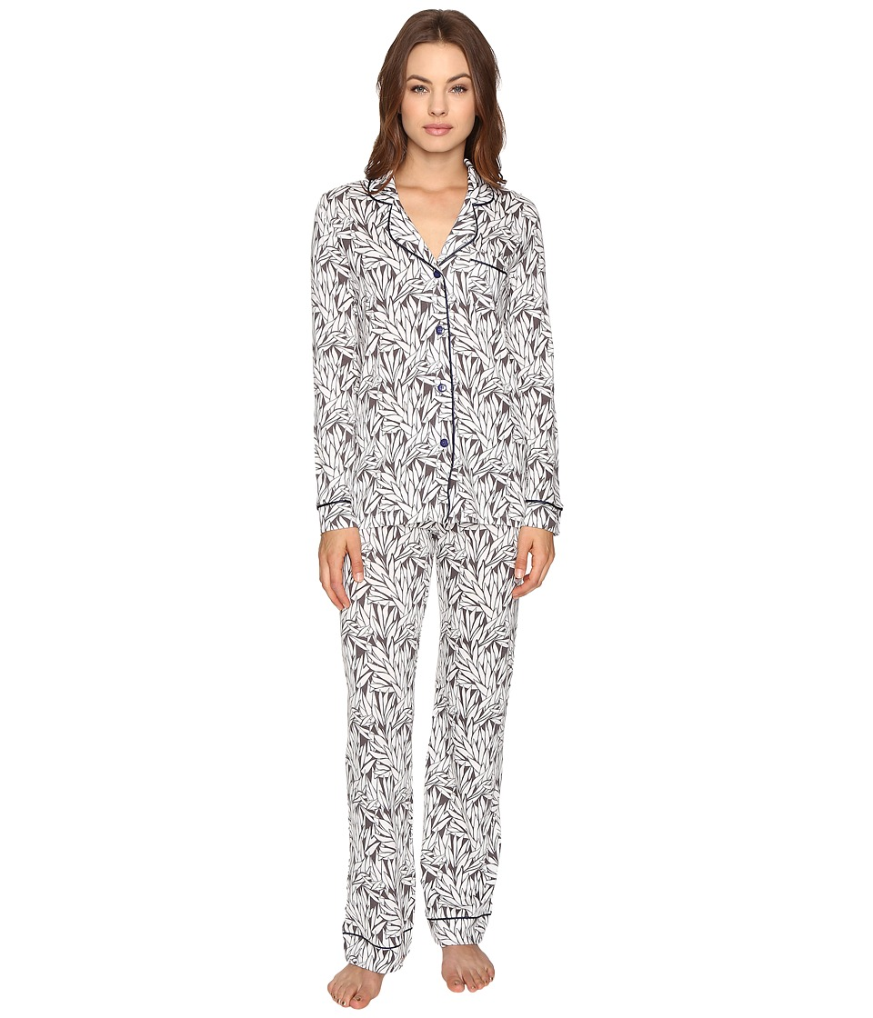 Cosabella - Bella Printed Long Sleeve Top Pants Set (Smoky Grey/Marine Blue) Women's Pajama Sets