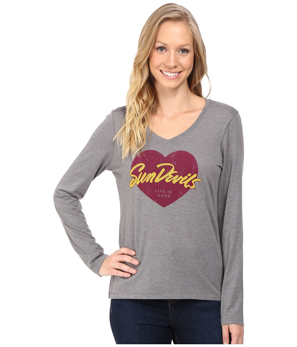 Life is good - Sun Devils Heart Long Sleeve Tee (Grey) Women's Long Sleeve Pullover
