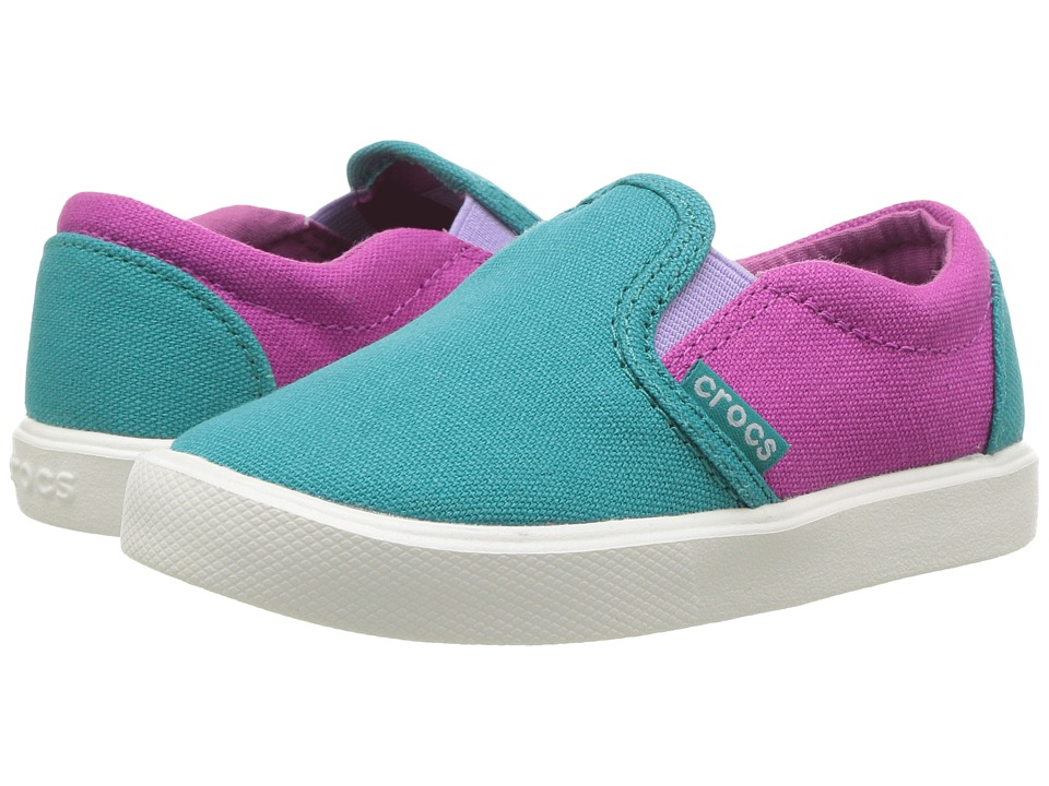 Crocs Kids - CitiLane Slip-On Sneaker (Toddler/Little Kid) (Turquoise/Party Pink) Kids Shoes