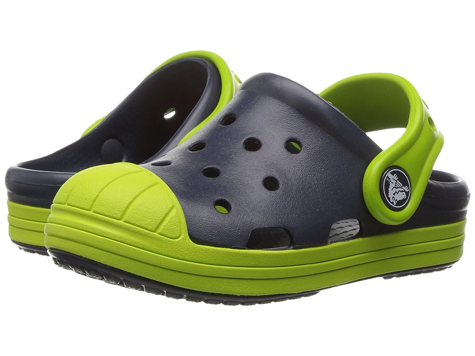 Crocs Kids - Bump It Clog (Toddler/Little Kid) (Navy/Volt Green) Kids Shoes