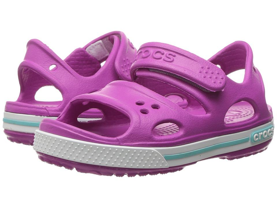 Crocs Kids - Crocband II Sandal (Toddler/Little Kid) (Vibrant Violet/White) Girls Shoes