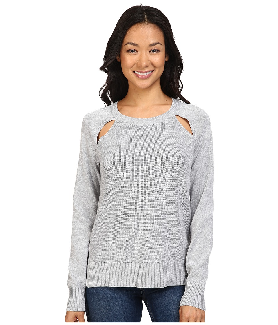 MICHAEL Michael Kors - Raglan Cut Out Long Sleeve Sweater (Pearl Heather) Women's Sweater