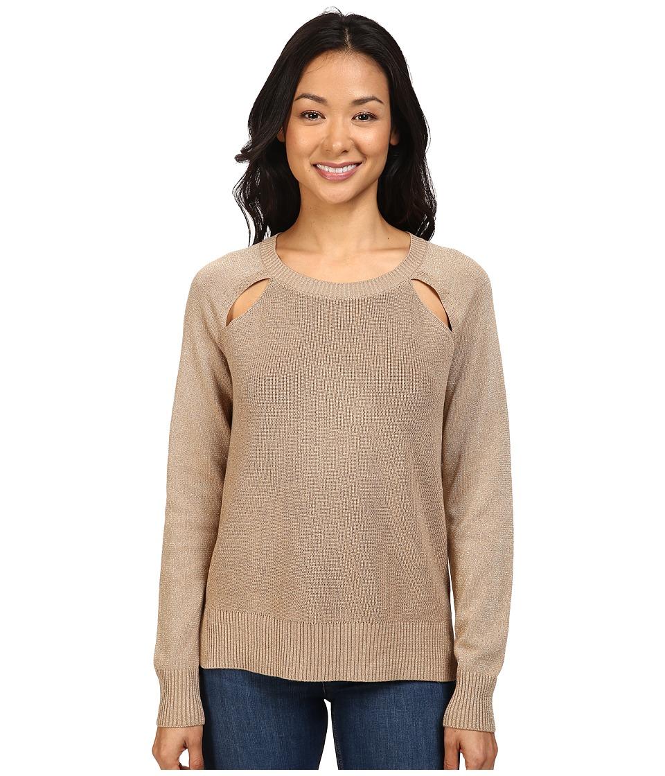 MICHAEL Michael Kors - Raglan Cut Out Long Sleeve Sweater (Dark Camel) Women's Sweater