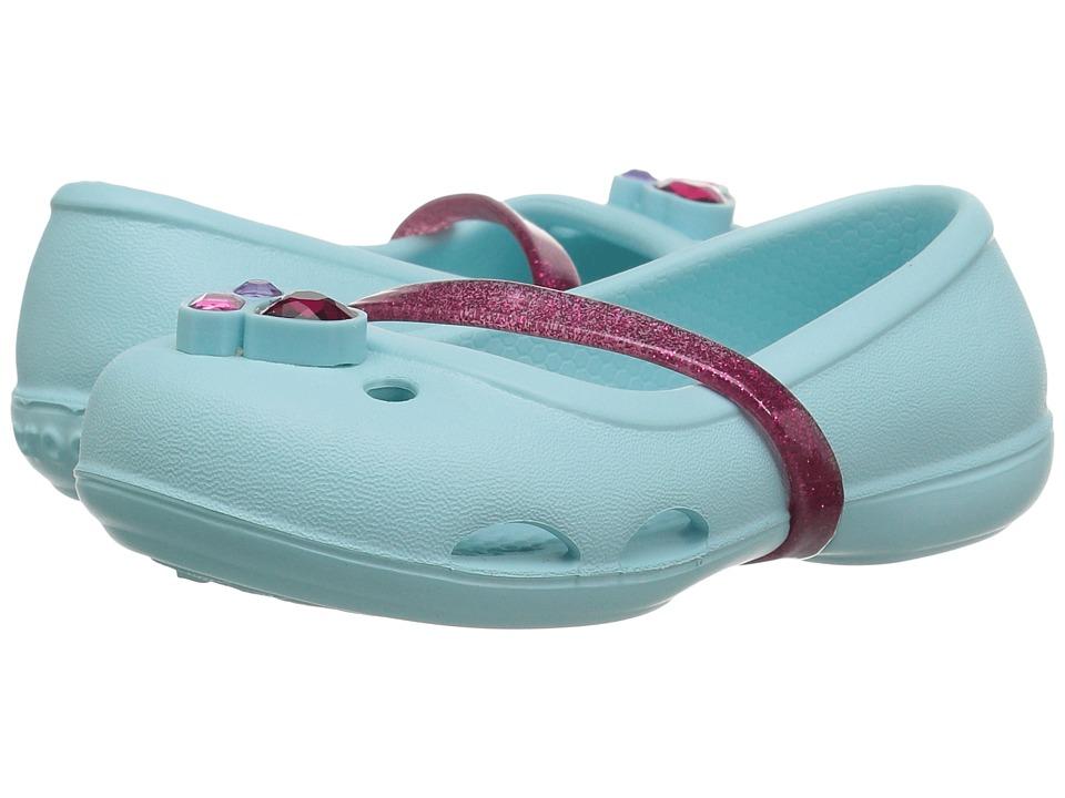 Crocs Kids - Lina Flat (Toddler/Little Kid) (Ice Blue) Girls Shoes