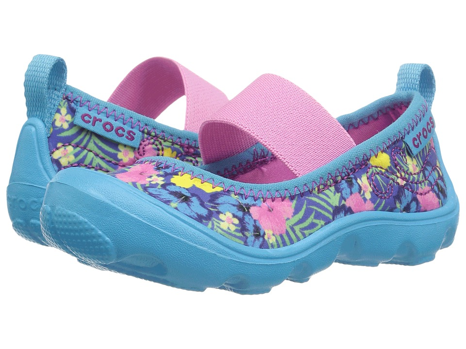 Crocs Kids - Duet Busy Day Mary Jane Graphic PS (Toddler/Little Kid) (Tropical) Girls Shoes