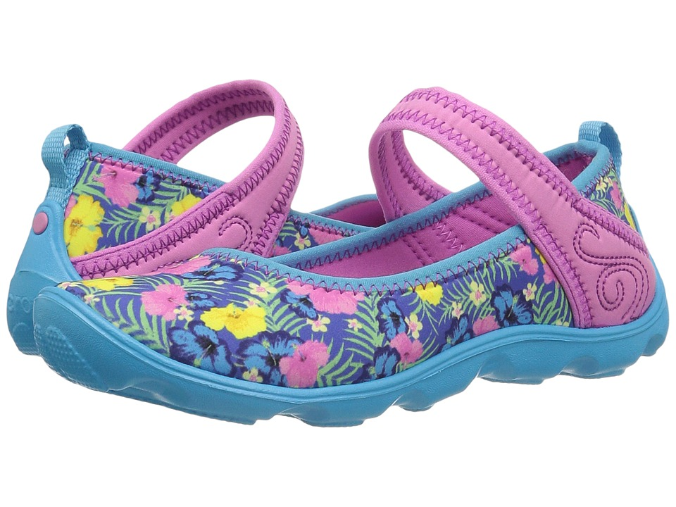 Crocs Kids - Duet Busy Day Mary Jane Graphic GS (Little Kid/Big Kid) (Tropical) Girls Shoes