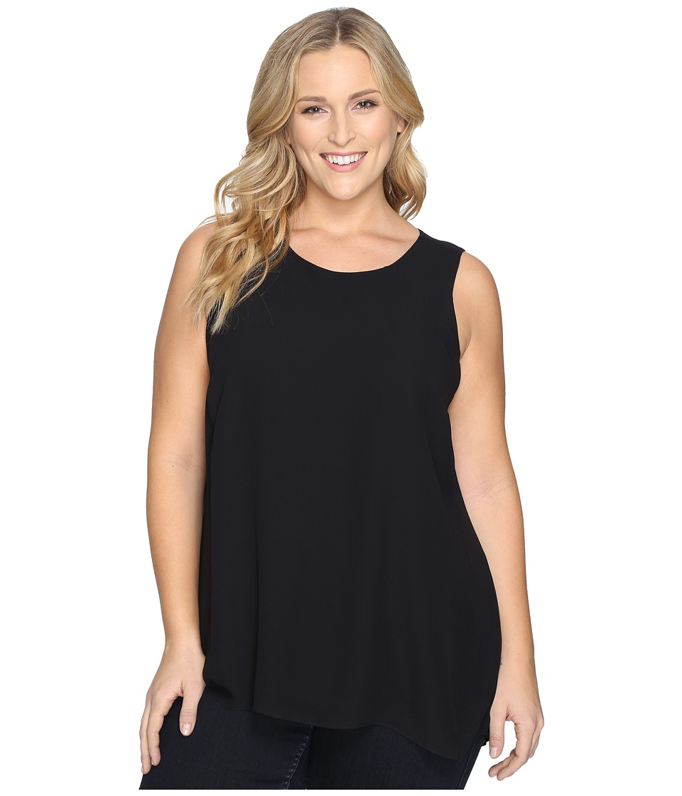 Vince Camuto Specialty Size - Plus Size Sleeveless Blouse with Knit Underlay (Rich Black) Women's Blouse