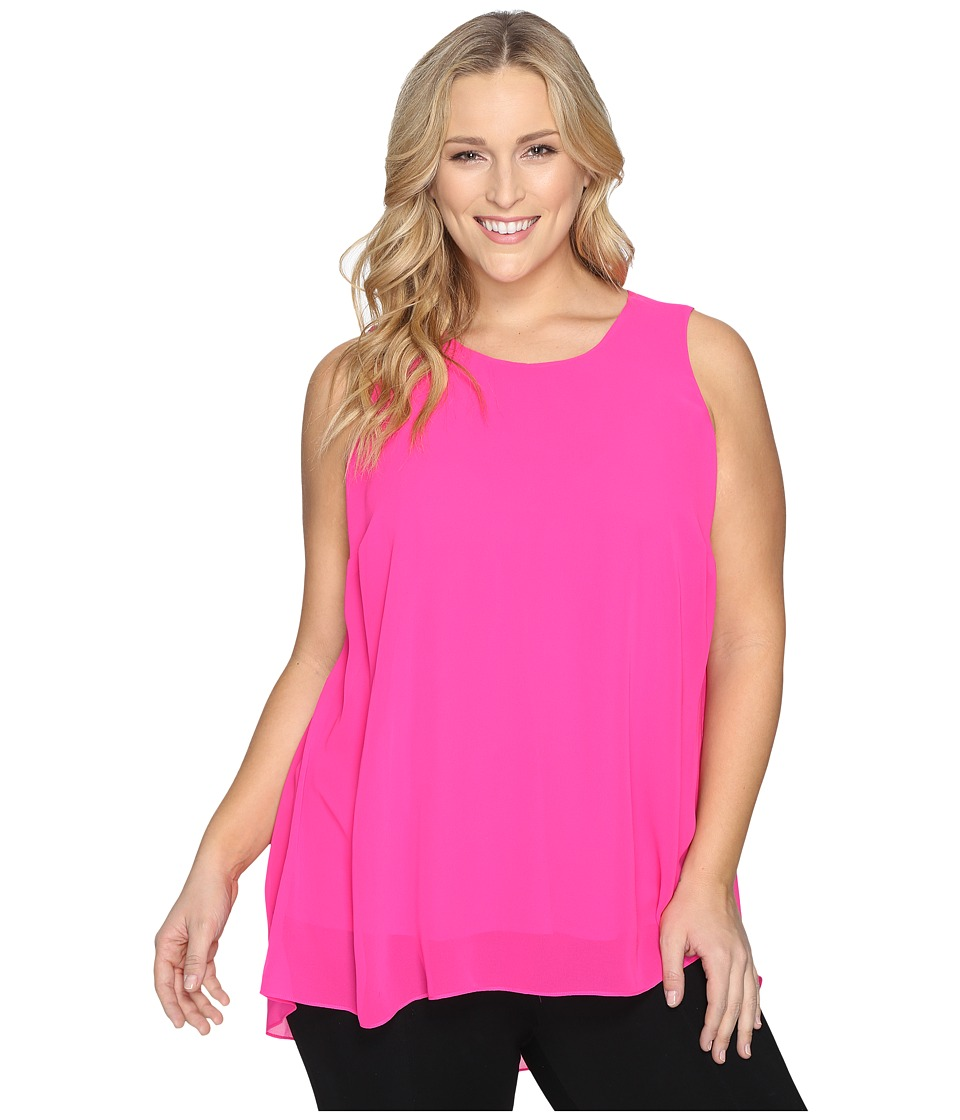 Vince Camuto Specialty Size - Plus Size Sleeveless Blouse with Knit Underlay (Pop Pink) Women's Blouse