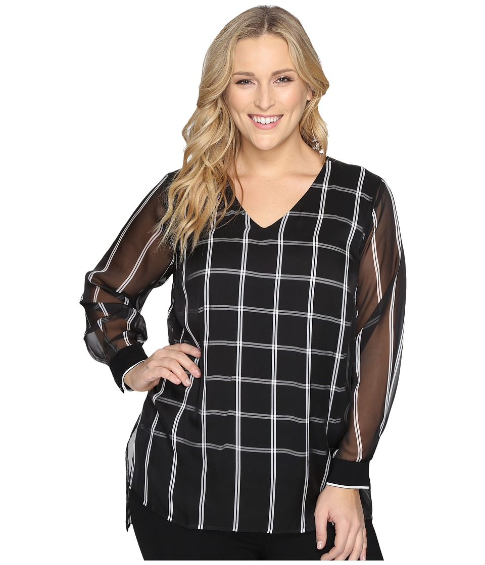Vince Camuto Specialty Size - Plus Size Long Sleeve V-Neck Stripe Duet Blouse with Knit Underlay (Rich Black) Women's Blouse