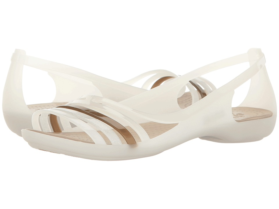 Crocs - Isabella Huarache Flat (Oyster/Walnut) Women's Flat Shoes