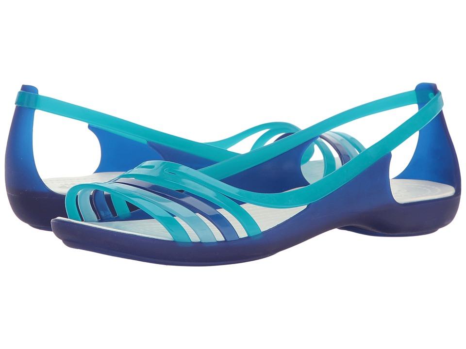 Crocs - Isabella Huarache Flat (Cerulean Blue/Turquoise) Women's Flat Shoes