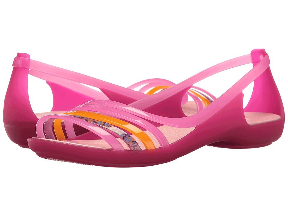 Crocs - Isabella Huarache Flat (Petal Pink/Coral) Women's Flat Shoes