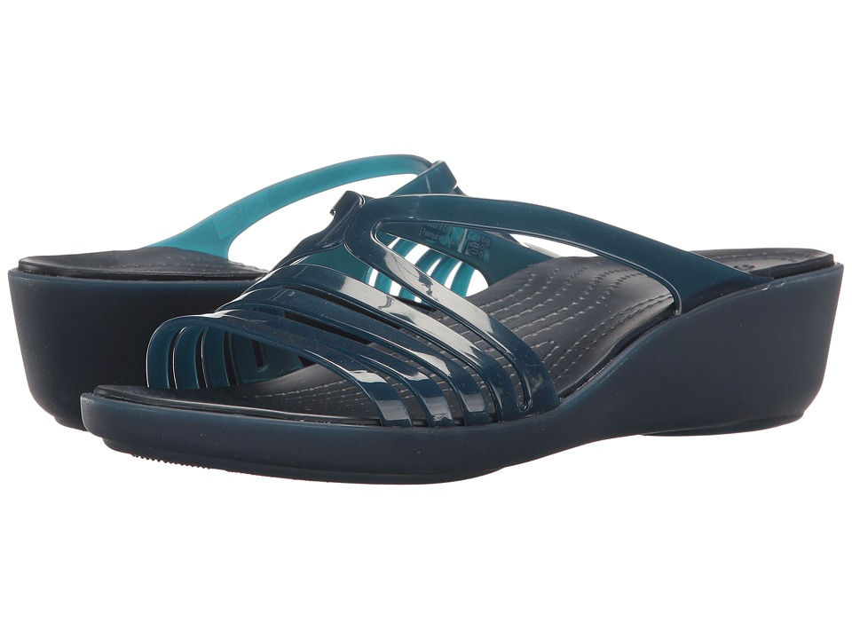 Crocs - Isabella Mini Wedge (Navy/Navy) Women's Wedge Shoes