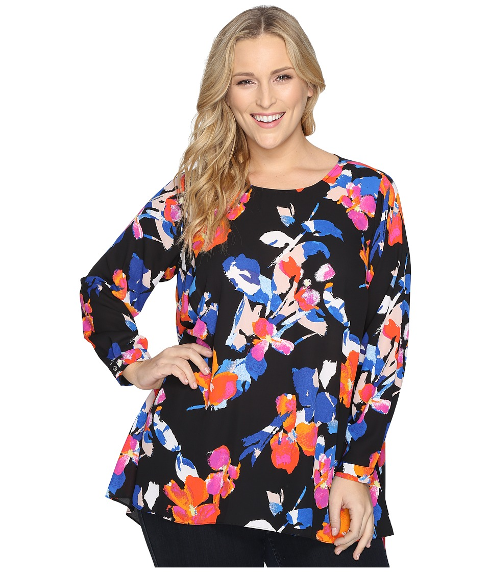 Vince Camuto Specialty Size - Plus Size Long Sleeve Floral Rendezvous High-Low Hem Blouse (Rich Black) Women's Blouse
