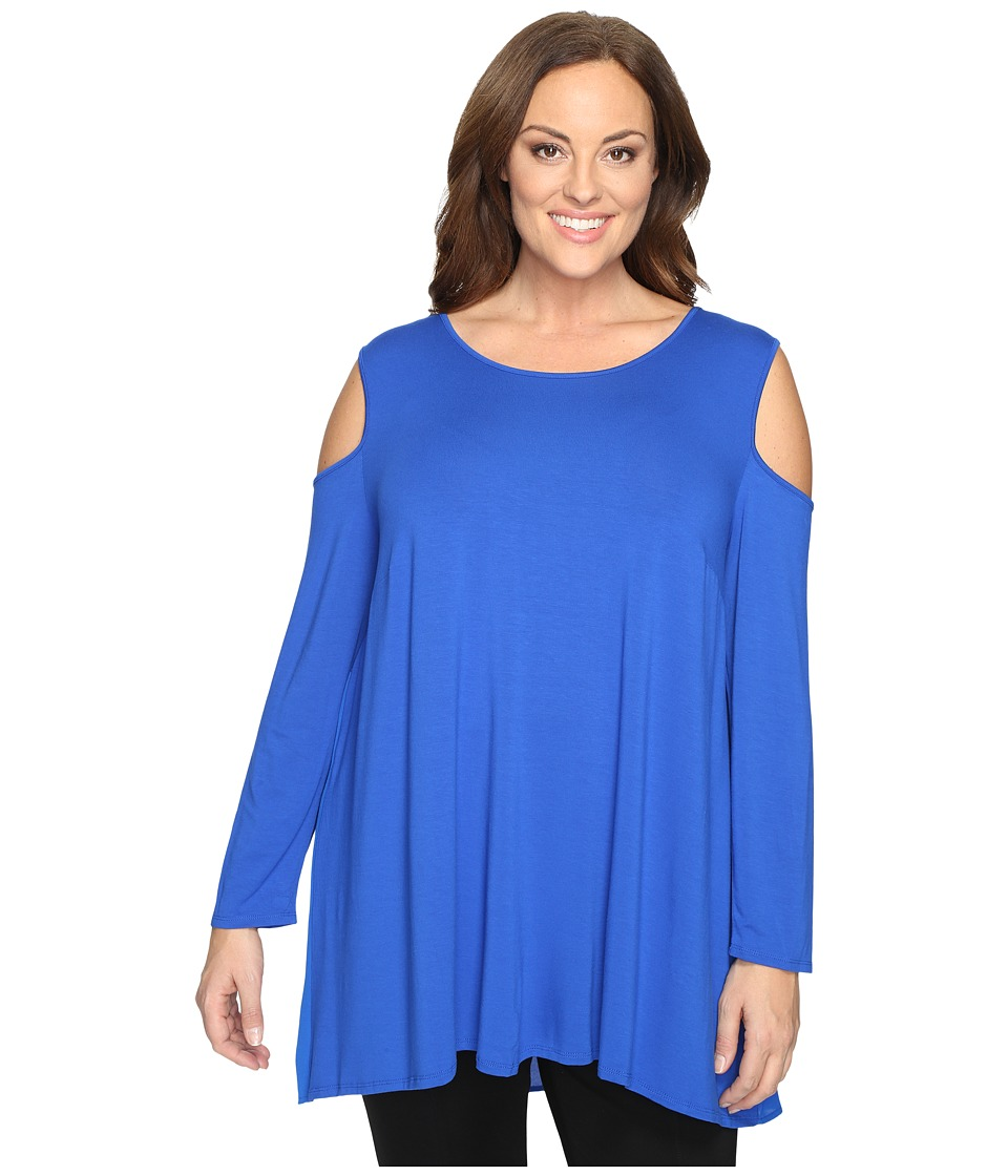 Vince Camuto Specialty Size - Plus Size Long Sleeve Cold-Shoulder Top (Bold Cobalt) Women's Clothing