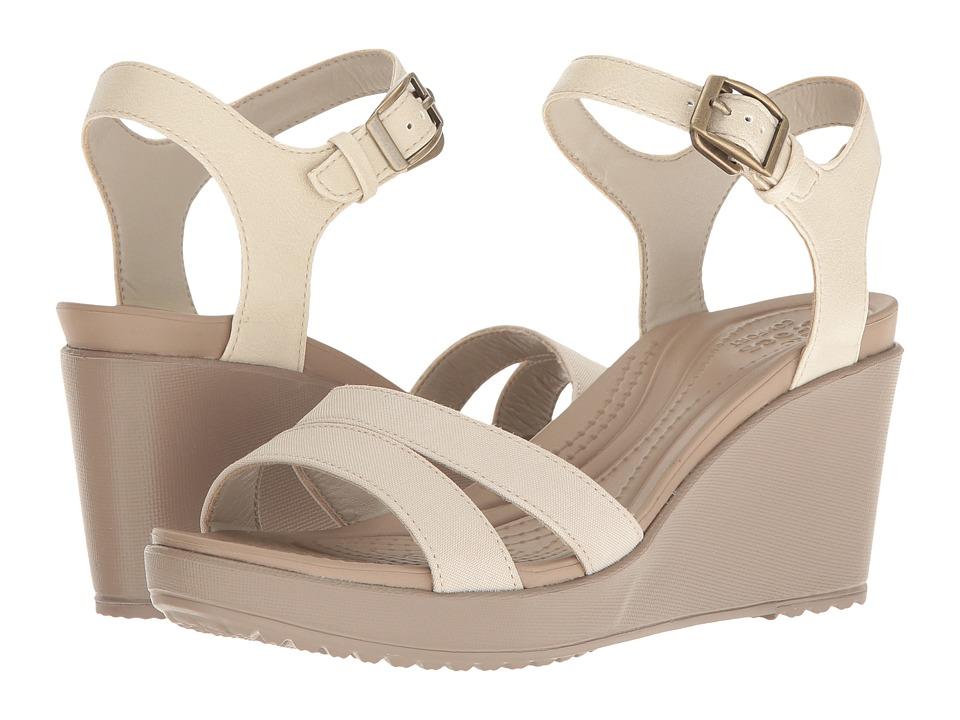 Crocs Leigh II Ankle Strap Wedge (Oatmeal/Khaki) Women