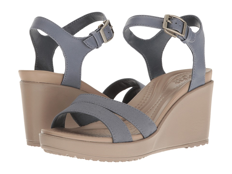 Crocs - Leigh II Ankle Strap Wedge (Strom/Mushroom) Women's Wedge Shoes