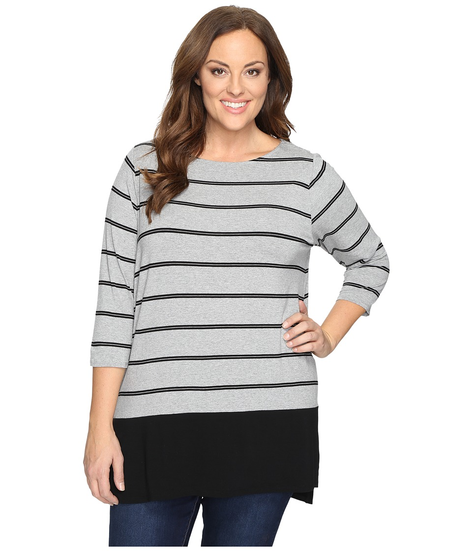 Vince Camuto Specialty Size - Plus Size Long Sleeve Chiffon Hem Stripe Duet Top (Light Heather Grey) Women's Clothing