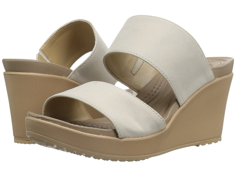 Crocs - Leigh II 2-Strap Wedge (Oatmeal) Women's Wedge Shoes