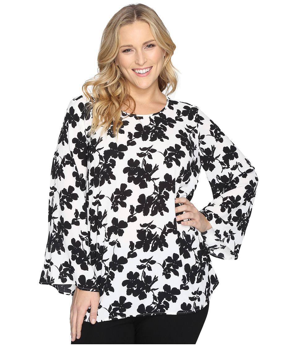Vince Camuto Specialty Size - Plus Size Bell Sleeve Small Fresco Blooms Blouse (New Ivory) Women's Blouse