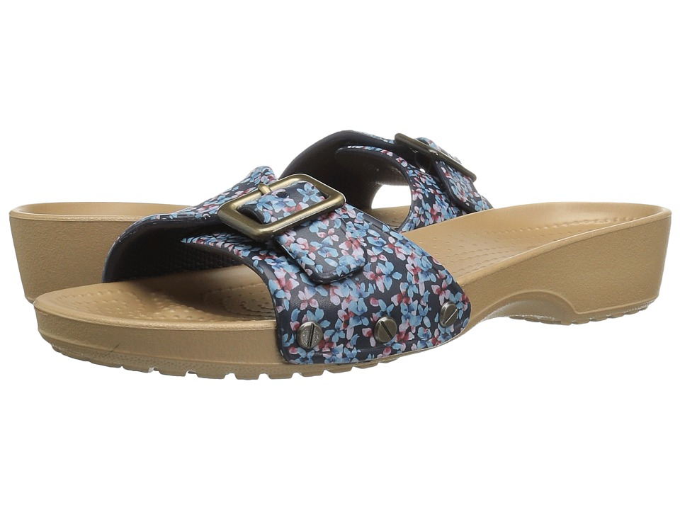 Crocs - Sanrah Graphic Sandal (Navy/Gold) Women's Sandals