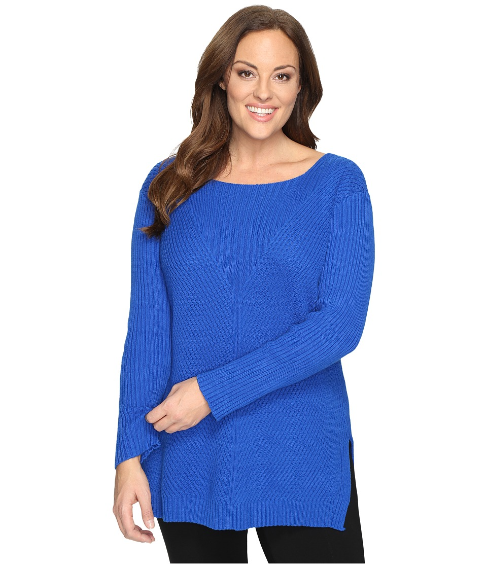Vince Camuto Specialty Size - Plus Size Long Sleeve Ribbed V Textured Sweater (Bold Cobalt) Women's Sweater