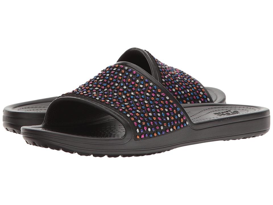 Crocs - Sloane Embellished Slide (Black/Multi) Women's Slide Shoes