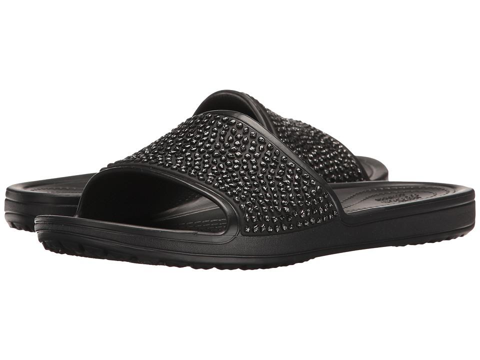 Crocs - Sloane Embellished Slide (Black/Black) Women's Slide Shoes