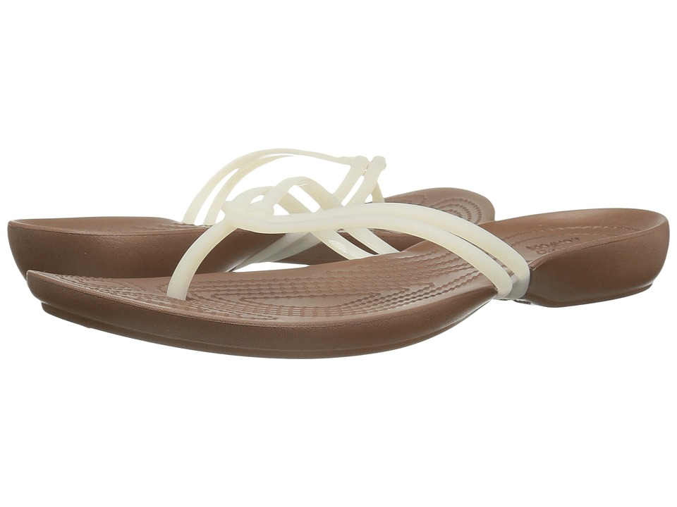 Crocs - Isabella Flip (White/Bronze) Women's Sandals