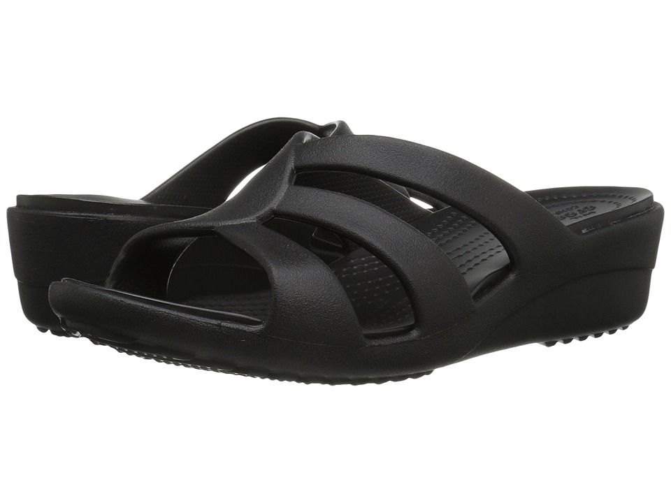 Crocs - Sanrah Strappy Wedge (Black) Women's Shoes