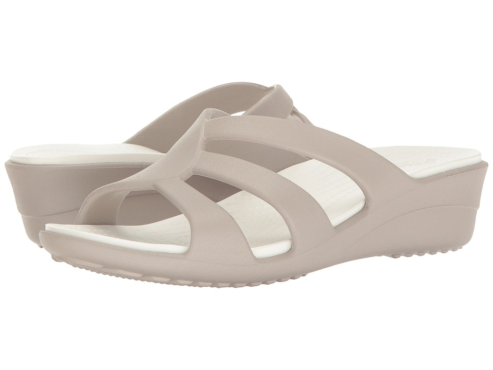 Crocs - Sanrah Strappy Wedge (Platinum) Women's Shoes