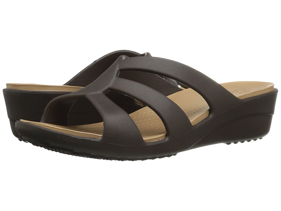 Crocs - Sanrah Strappy Wedge (Espresso) Women's Shoes
