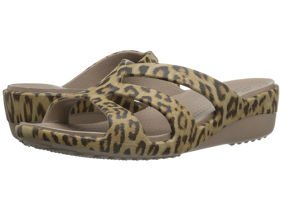 Crocs - Sanrah Graphic Strappy Wedge (Leopard) Women's Shoes