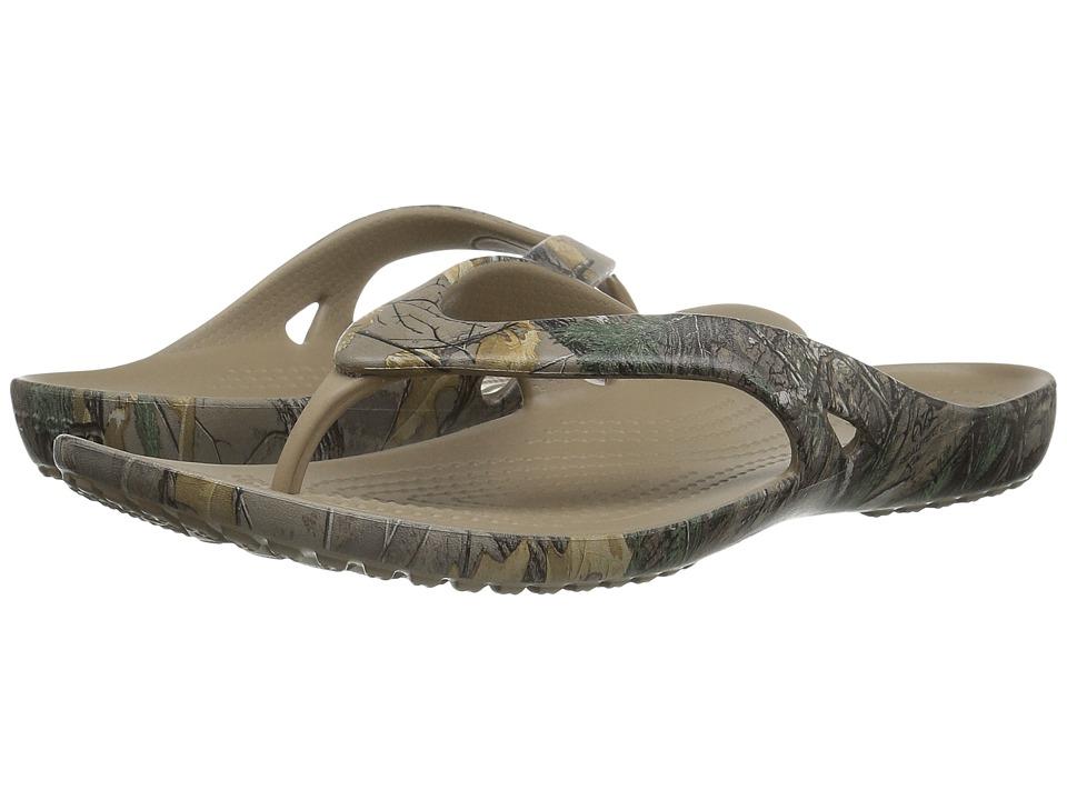 Crocs - Kadee II Realtree Xtra Flip (Khaki) Women's Sandals