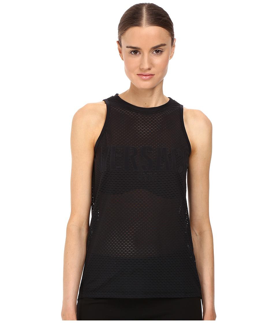 Versace Sleeveless Mesh Logo Tee (Nero) Women