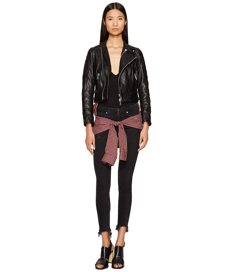 DSQUARED2 - Leather Knotted Shirt Kiodo (Black) Women's Clothing