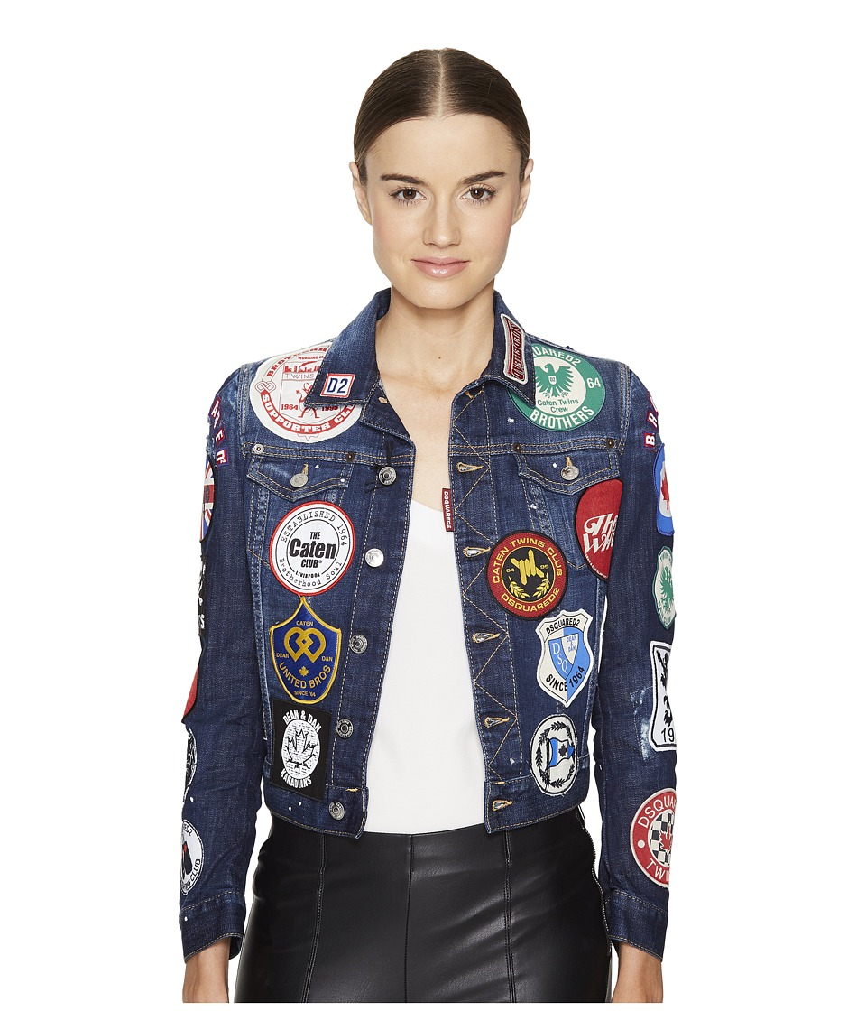 DSQUARED2 - Denim Multi Patch Jacket (Blue) Women's Coat