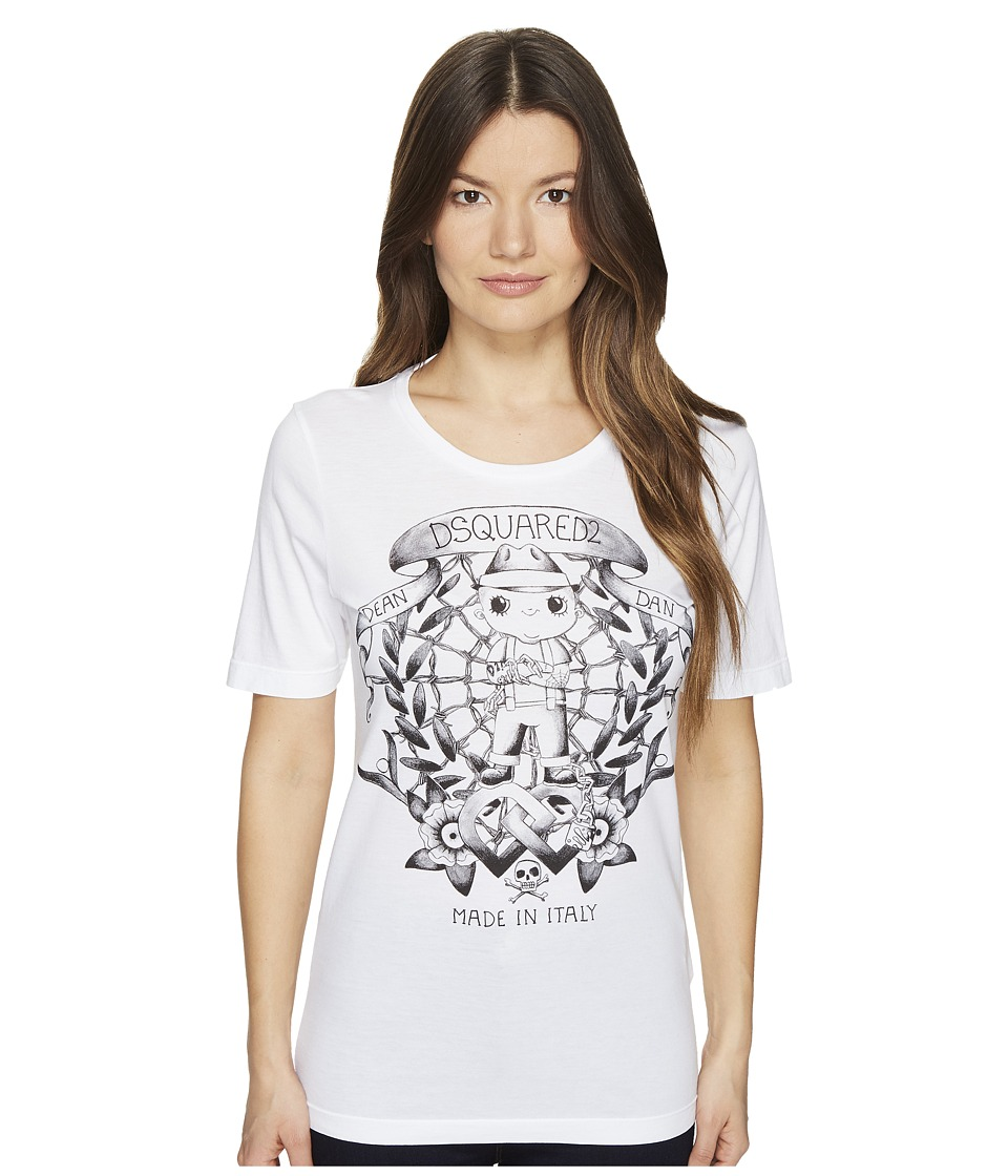 DSQUARED2 - Renny Fit Soft Print T-Shirt (White) Women's T Shirt