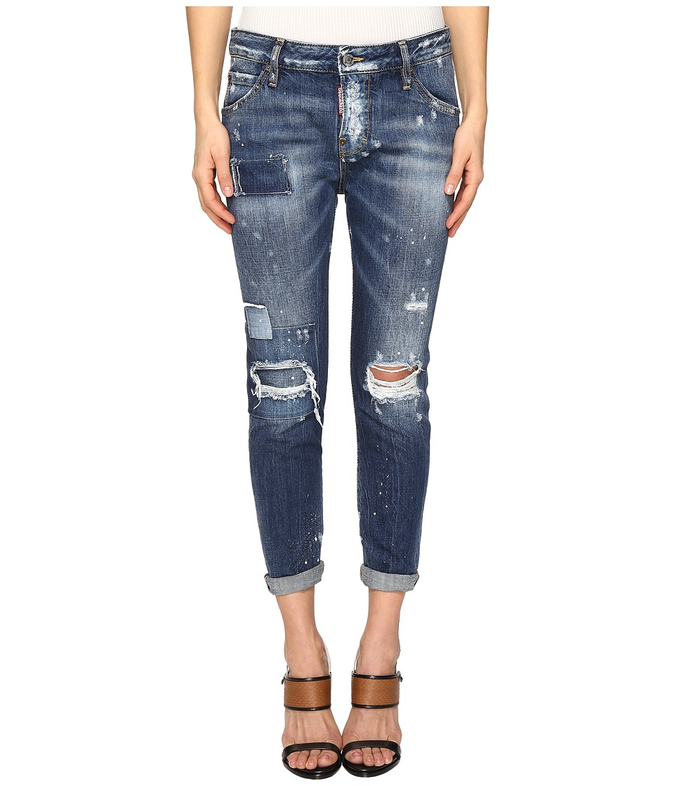 DSQUARED2 - Cloudy Ripped Destroyed Wash Jeans in Blue (Blue) Women's Jeans