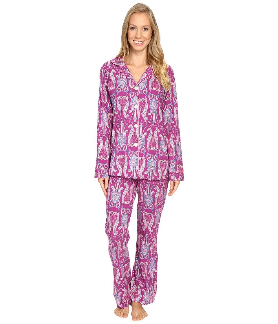 BedHead - Long Sleeve Classic Pajama Set (Plum Little India) Women's Pajama Sets