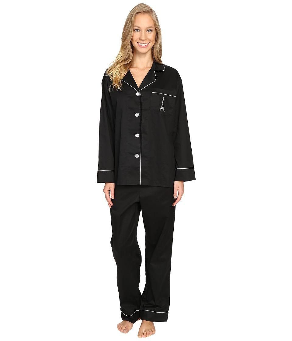 BedHead - Long Sleeve Classic Pajama Set (Eiffel Embroidery) Women's Pajama Sets