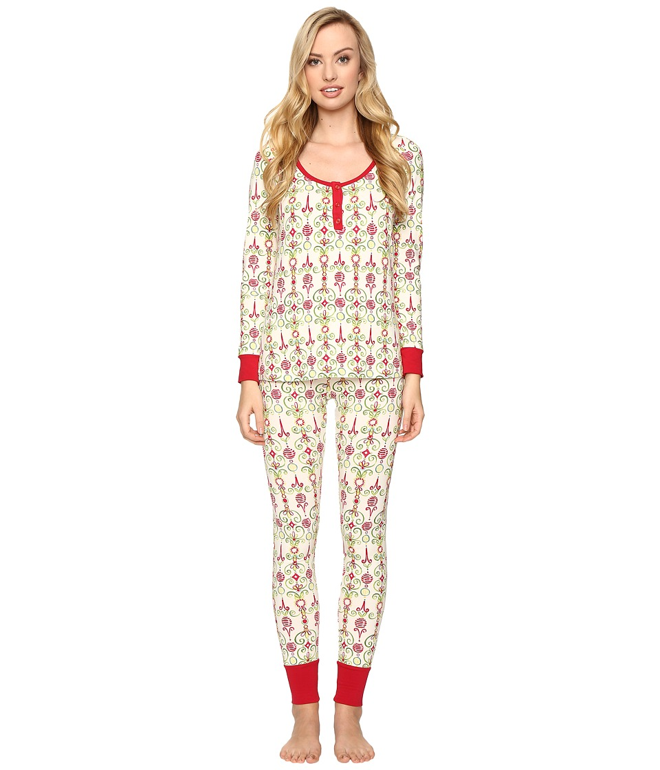 BedHead - Long Sleeve Classic Henley Pajama Set (Christmas Party) Women's Pajama Sets