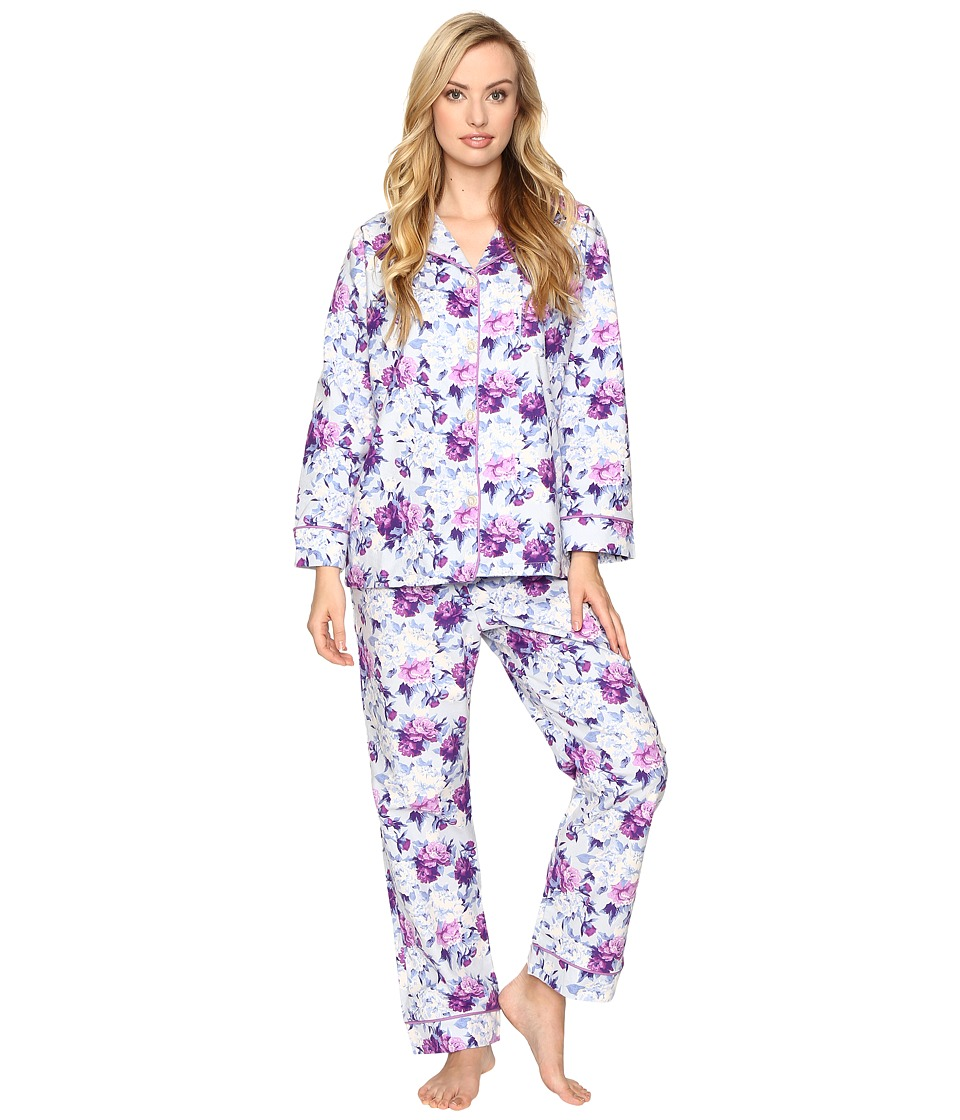 BedHead - Long Sleeve Classic Pajama Set (Blue Ashes of Roses) Women's Pajama Sets